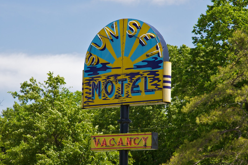 Day 3: The Sunset Motel near Villa Ridge, MO.  The Sunset's gorgeous porcelain sign—which had not been lit for 30 years—was restored and relit in November 2009.