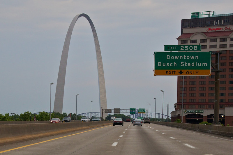 Day 2: We took a brief detour onto the interstate in downtown St. Louis and were greeted by this beautiful view of the famous Gateway Arch.