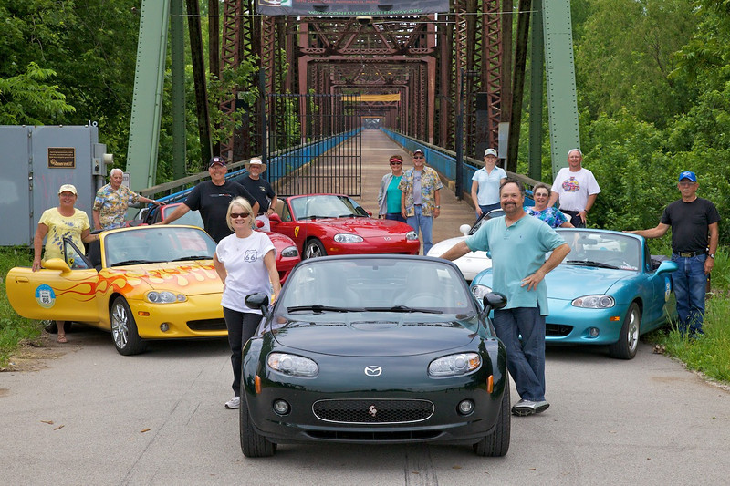 Day 2: A very nice couple from the Netherlands snapped this photo of our group in front of the Chain of Rocks Bridge.