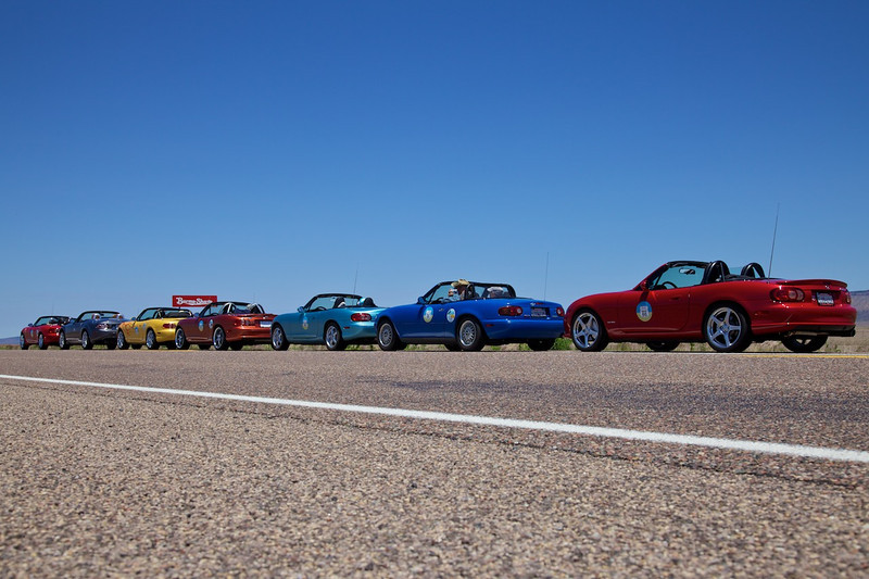Day 12: Continuing on the wonderful section of Route 66 between Seligman and Kingman, AZ, complete with Burma Shave signs.  A couple from Canada (Silver NC Miata) also touring Route 66 joined our group from Seligman, AZ to Amboy, CA.