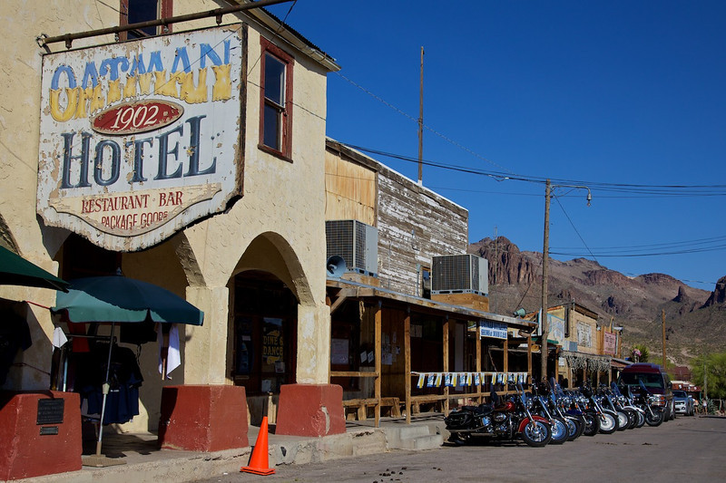 Day 12: Beautiful downtown Oatman, AZ.  The Oatman Hotel is where Clark Gable and Carole Lombard honeymooned.