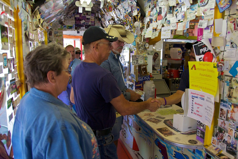 Day 12: Wayne meets a new friend at the Snow Cap Drive-In in Seligman, AZ.