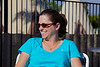 Day 13: Mandie sitting on the stoop at the WigWam Motel.