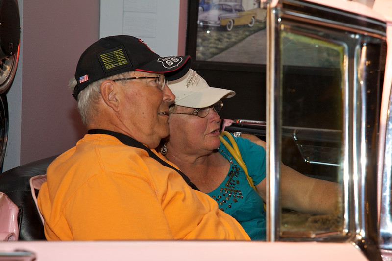 Day 7: Steve and Laurie enjoy a drive-in movie at the National Route 66 Museum.