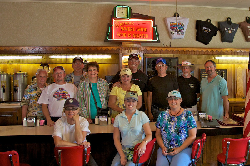 Day 2: The Ariston Cafe's owner, Nick Adam, snapped this photo of our group of Route 66 adventurers.