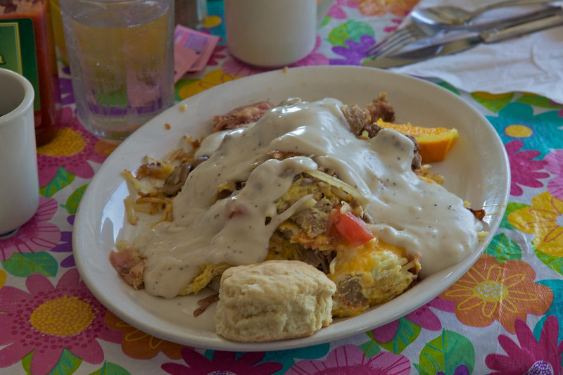 Day 4: Breakfast at 'Back in the Day Cafe' in Cuba, MO.  Gene ordered the 'Mess-O-Food' menu selection.