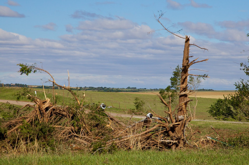 Day 7: Tornado damage from a tornado that moved through El Reno, OK while we were on the road to Edmond, OK on day 6.