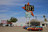 Day 13: At the famous Roy's Motel and Cafe in Amboy, CA.  The town of Amboy was purchased by Albert Okura in 2005.  Okura promised to preserve the town and reopen Roy's.  Roy's reopened in April of 2008.  Restoration work continues.