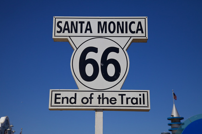 """Day 14: The Santa Monica Pier is the """"unofficial"""" end of Route 66.  The """"official"""" end is at intersection of Lincoln Blvd. and Olympic Blvd., a few blocks east of the Pier."""