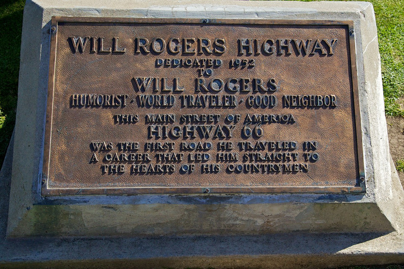 Day 14: The plaque dedicating Route 66 as the Will Rogers Highway circa 1952.