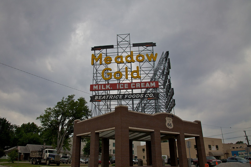 Day 6: The famous Meadow Gold sign in Tulsa, OK.  The sign was saved when its original building was torn down in the 1970s.  The sign didn't join its new building until 2009.