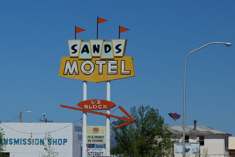 Day 10: Sign pointing to the Sands Motel, just off the route in Grants, NM.