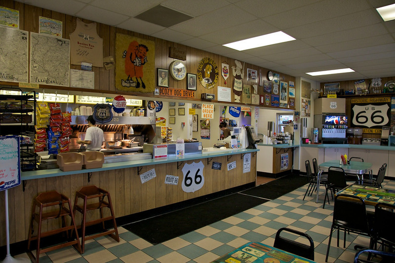 Day 1: Order counter at the Cozy Dog Drive-In in Springfield, IL.
