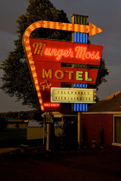 Day 4: The Munger Moss Motel's famous neon sign.