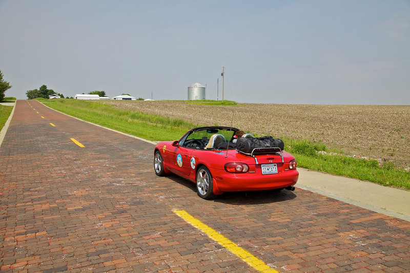 Day 2: The famous red brick section of Route 66 in Auburn, IL.