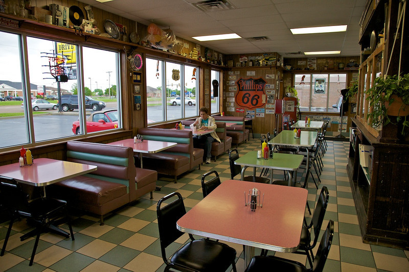 Day 1: Inside the Cozy Dog Drive-In in Springfield, IL.