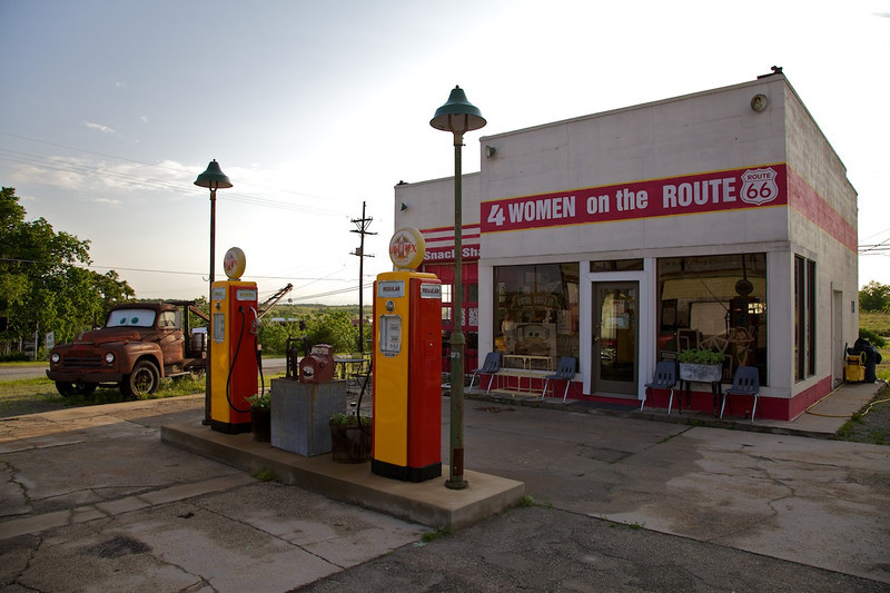 Day 6: Four Women on the Route, a restored Kan-O-Tex service station in Galena, KS.