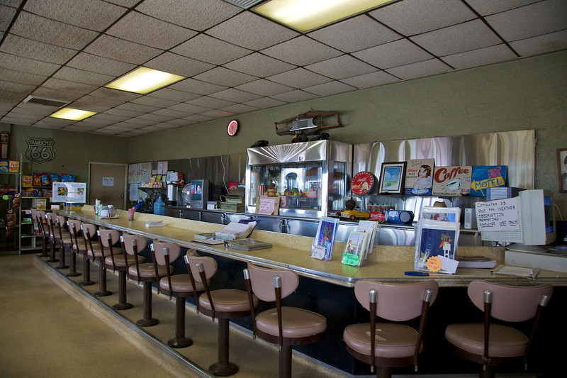 Day 13: Inside Roy's Cafe in Amboy, CA.  At the time of our visit, the restored cafe was not open for business but serves as a snack and gift shop.