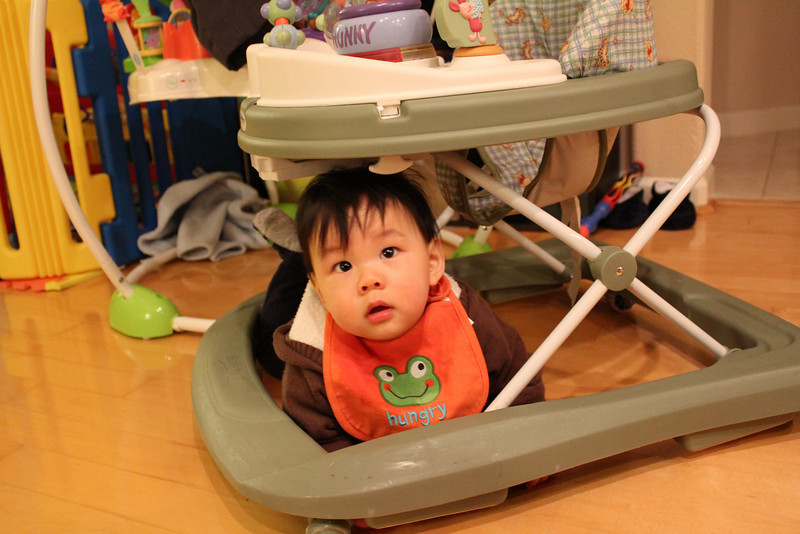 Micah's new 2nd favorite spot (the first is under the jumperoo). he gets stuck here though :)