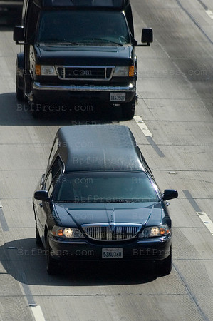 Michael Jackson's convoy from the Forest Lawn Memorial Parks & Mortuaries to the Staples Center memorial. (Photo by Michel Boutefeu)