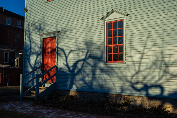 The colors you get at golden hour with the contrasty shadows is totally worth waiting for. I love wandering around during this time to see what appears. Strawberry Banke, Portsmouth, New Hampshire