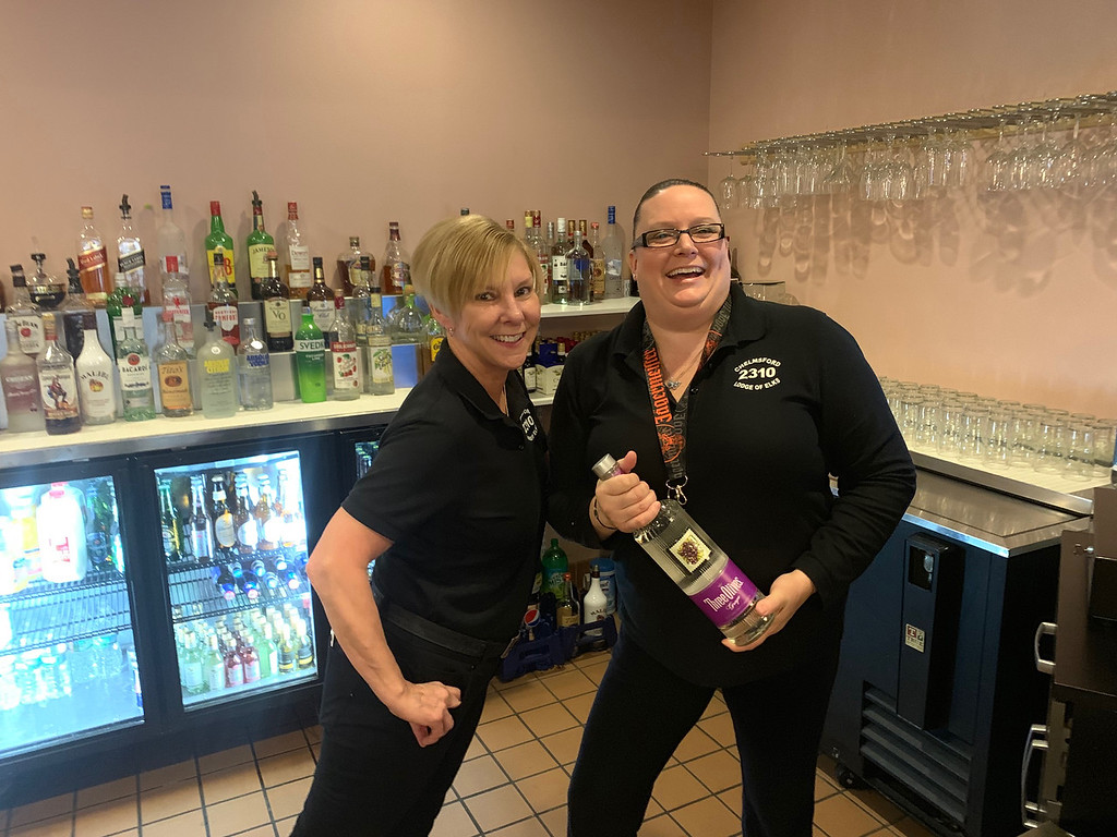 . Chelmsford Elks bartending beauties Lynne Crimmins of Tyngsboro and Cynthia Livingston of Nashua
