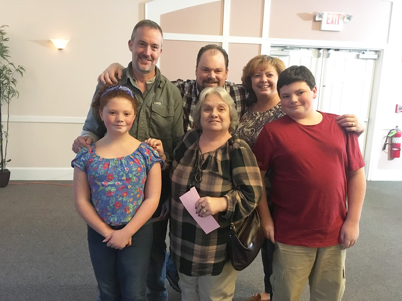 Back row, from left, Eric Bruce of Dracut, and Steve, Renee and Michael Gregoire of Hudson, N.H., with, front row, from left, Rachel Gregoire of Hudson, N.H., and Jeanne Nugent of Dracut