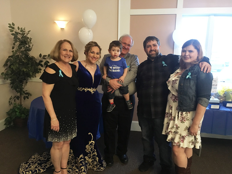 Singer/songwriter Michelle Canning and her family, from left, mom Donna, dad Ken, holding Ray, and brother Keith, all of North Andover, and Tiffiny Tachuk of Salem