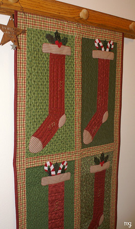 November 25 I hung the stockings today....I especially love these hangings ( I have one for almost every season)  because Mom made them & they are gorgeous!