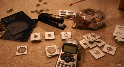 November 30 exciting friday night at our house....organizing our coin collection!  Woot-woo!