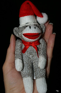 December 8 from my dear friend, Alison....a santa sock monkey!  he looks so chic hanging in the Charger :)