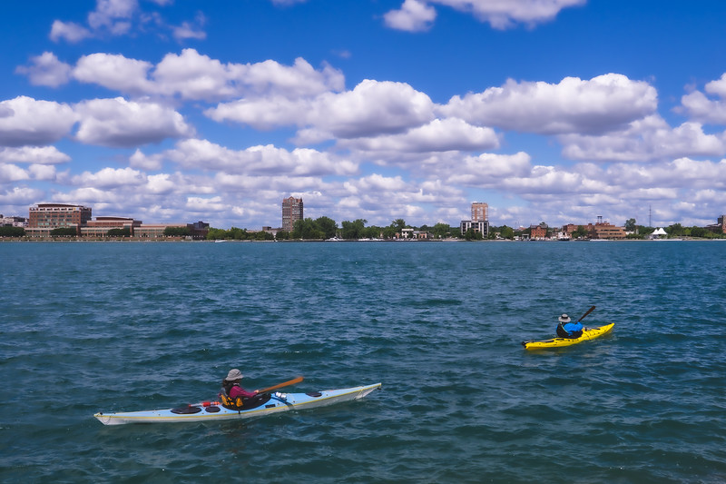 Kayakers on the Detroit River taken from Belle Isle State Park