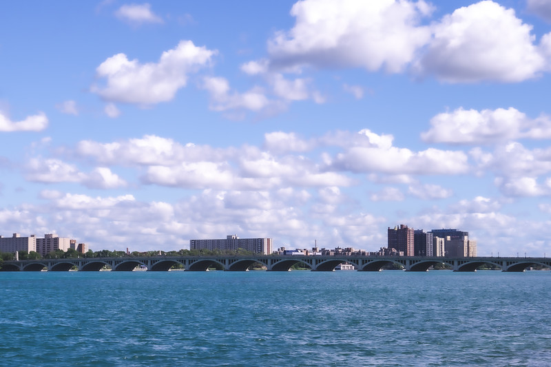 View of the MacArthur Bridge from Belle Isle State Park in Detroit Michigan