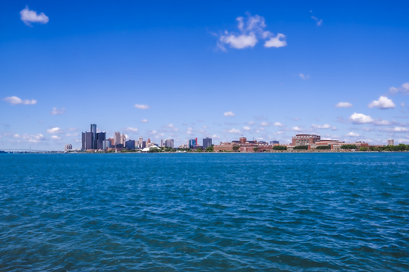 The Detroit Michigan Skyline taken from Belle Isle State Park