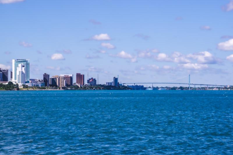 The Ambassador Bridge into Windsor Ontario taken from Belle Isle State Park