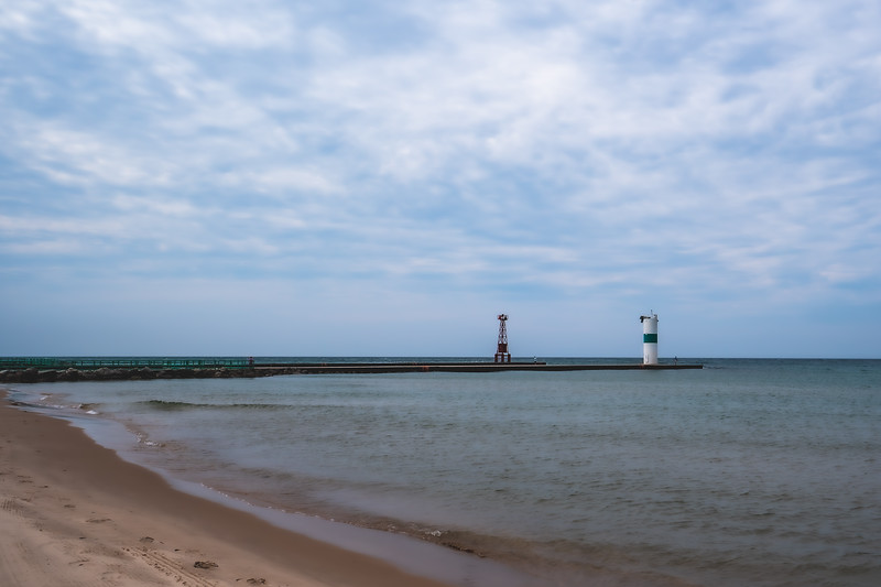 Pentwater Pier Head Lights at Charles Mears State Park in Pentwater Michigan