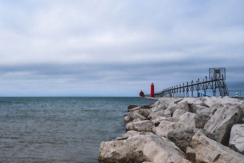 Grand Haven South Pierhead Light at Grand Haven State Park in Grand Haven Michigan