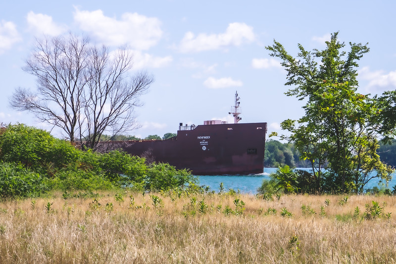 A Barge headed down the Detroit River
