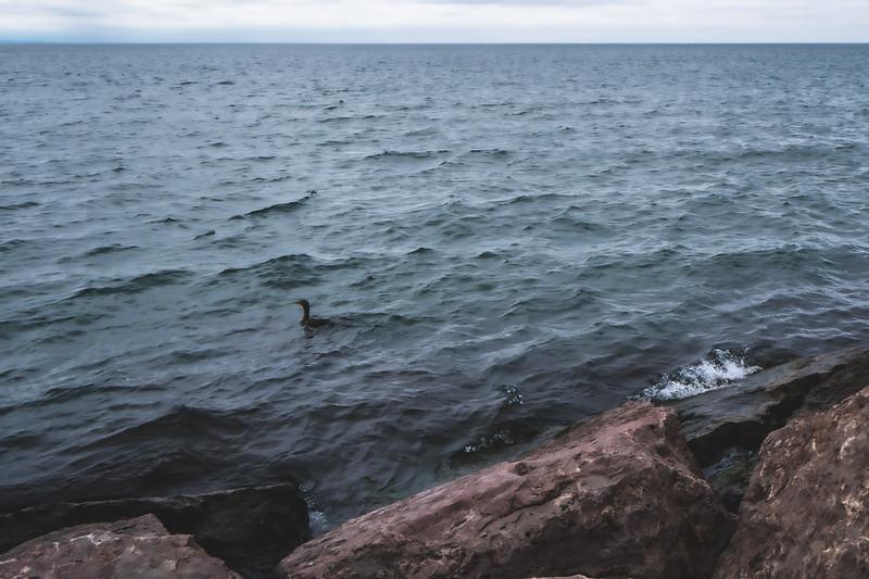 Lake Michigan at Pere Marquette Park in Muskegon Michigan