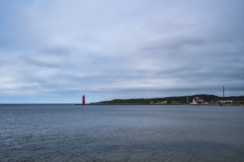 Muskegon South Pierhead Light at Pere Marquette Park in Muskegon Michigan