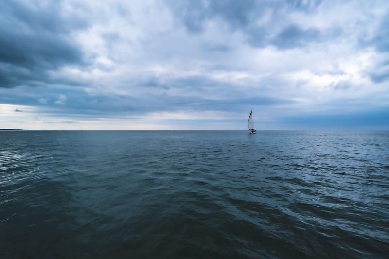 Sailboat on Lake Michigan at South Beach in South Haven Michigan