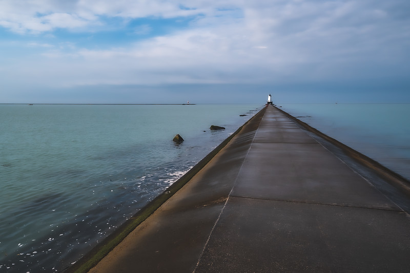 North Breakwater Light at Stearns Park in Ludington Michigan