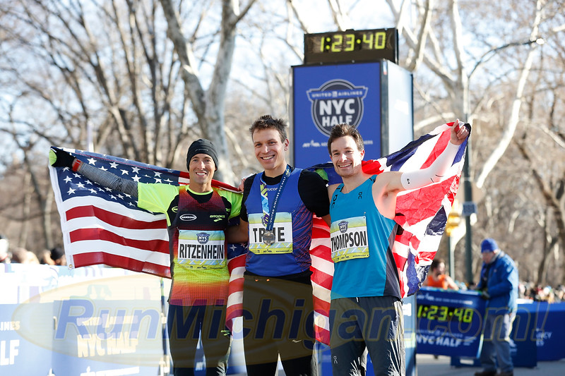 The top three finishers on the professional men's side, Ben True, Dathan Ritzenhein (l) and Chris Thompson, at the 2018 United Airlines NYC Half. (Photo courtesy NYRR)