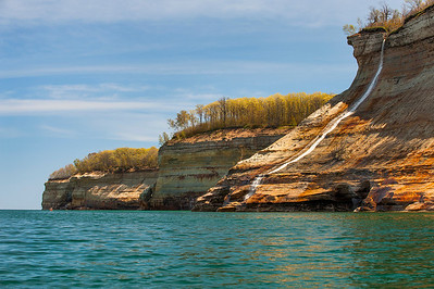 Bridal Veil Falls at Pictured Rocks flows down to Lake Superior.