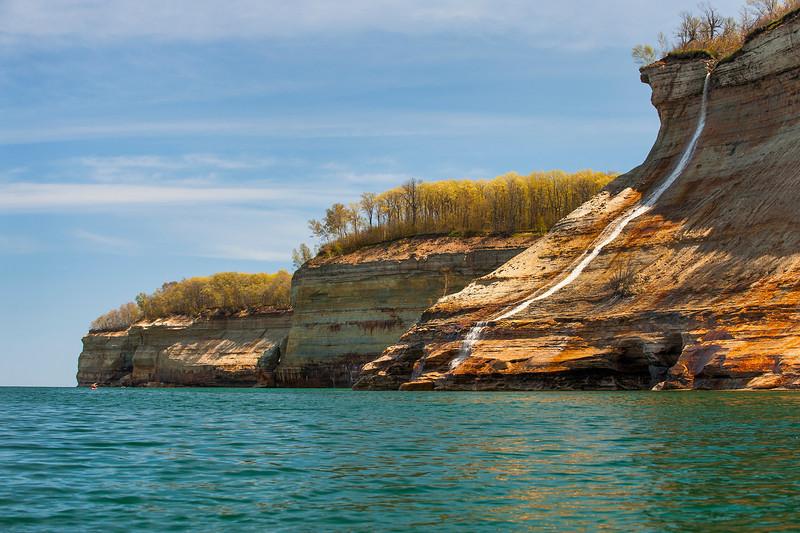 Bridal Veil Falls at Pictured Rocks flows down to Lake Superior.