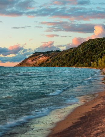 A summer evening at the shore of Lake Michigan.