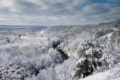 Overlooking the Manistee River in the winter from the North Country Trail.
