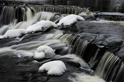 Michigan's iconic Bond Falls in winter.
