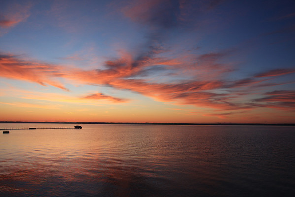VIew of the sunrise - East Grand Traverse Bay on Old Mission Peninsula in Traverse City Michigan
