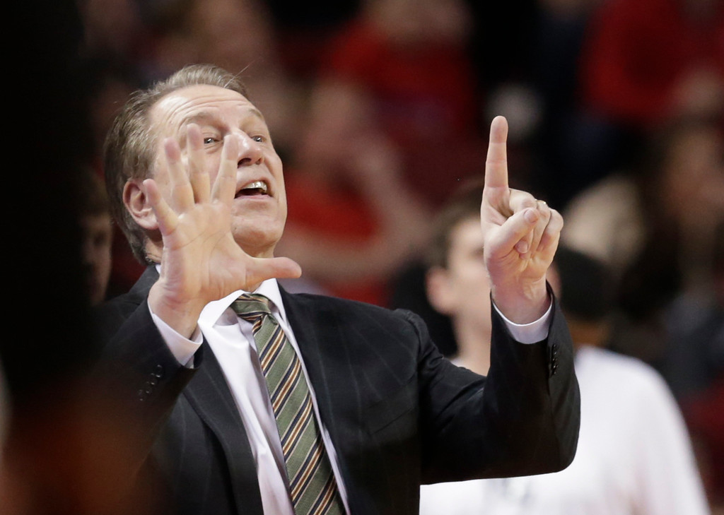 . Michigan State coach Tom Izzo calls a play during the first half of an NCAA college basketball game against Nebraska in Lincoln, Neb., Thursday, Feb. 2, 2017. (AP Photo/Nati Harnik)